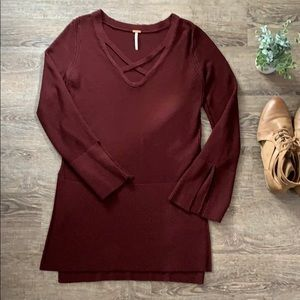 Free People tunic in wine red